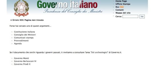 Errore 404 per il sito governo.it